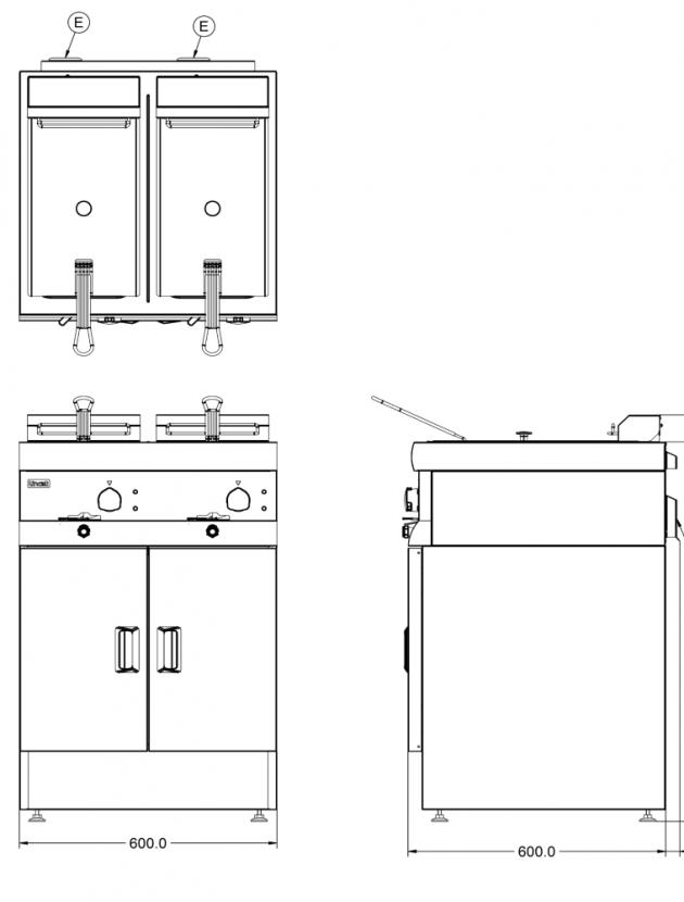 Drawing: DF612_Lincat_Twin_Tank_Countertop_Electric_Fryer