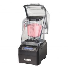 Product: HBH755 Commercial High Performance Blender Quiet Shield open with smoothie