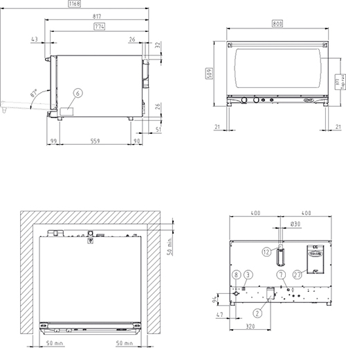 XFT193_unox-bread-oven-drawings-dimensions