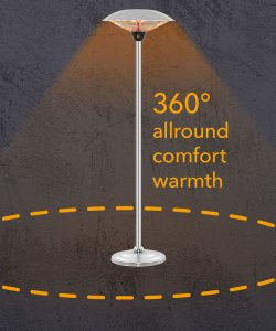 360 degree heating with the IRS 2520 infrared patio heater